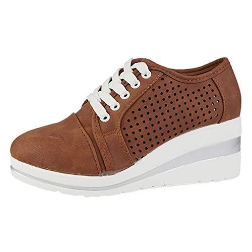 Fannyfuny Zapatos Mujeres Zapatillas de Deporte Cuña Mocasines Calzado Deportivo de Exterio Casuales Zapatos Height-Increasing Sneaker Running Transpirable Aumentar Más Altos