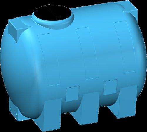 Serbatoio RINFORZATO polietilene 5 mm tipo orizzontale 1000 litri - FORI STAMPATI e FILETTATI acqua potabile alimenti blu cisterna