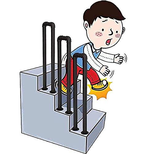 Barandilla para escalera, barandilla decorativa de hierro forjado en forma de U para exteriores (negro mate), escalón, tubo galvanizado, barandilla de escalera, barra de soporte antideslizante