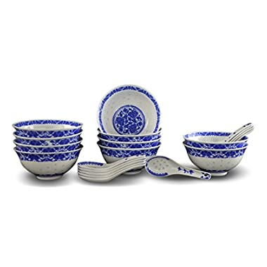 10 Pcs Fine Porcelain Blue and White Rice Pattern Bowls, Cereal Bowls, Rice Bowls with Free 10 Porcelain Spoons Jingdezhen China Soup Bowl, Fruit Bowl Set