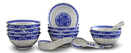 10 Pcs Fine Porcelain Blue and White Rice Pattern Bowls, Cereal Bowls, Rice Bowls with Free 10 Porcelain Spoons Jingdezhen China