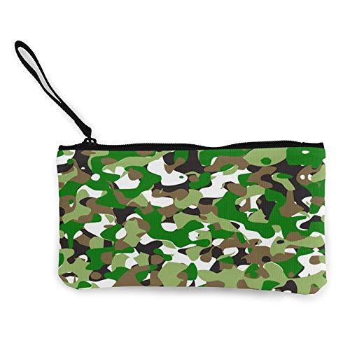 Moneda de lona, bolso de camuflaje con cremallera, bolsa de cosméticos de viaje multifunción para el teléfono móvil, bolsa de lápiz con asa