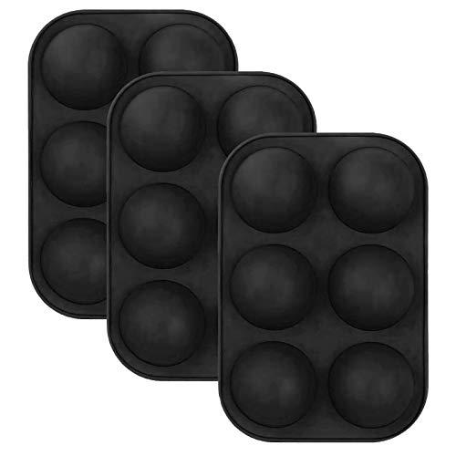 HUALUWANG Moldes de Silicona Semiesfera 6 Agujeros, Muy Adecuado para Tarta de Postre, Gelatina,Molde Redondo de Silicona para Bomba de Chocolate Caliente, 3 Paquetes de Molde para Hornear