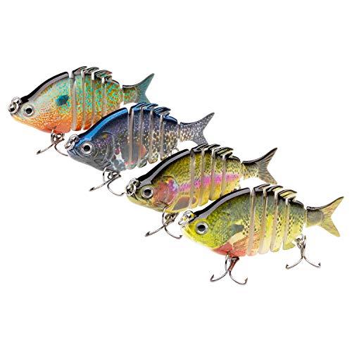 Bassdash Hard Swimbaits Segmented Panfish Shad Minnow Crank Lure 2.5in for Bass Pike Walleye Salmon Fishing
