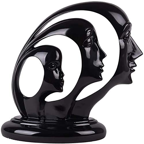 XHCP Estatua de Arte Resina Artesanía Estatua de Personaje para Estudio Estudio Decoración del hogar Regalo, Decoración de Escultura, Figura Familiar Abstracta con Tres Caras -