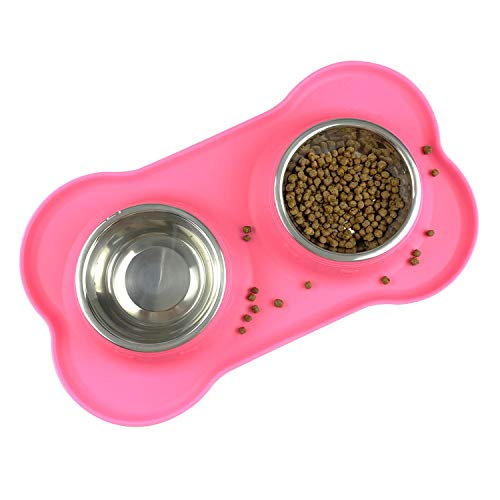 PeroBuno Futternapf Hund,2x200ml doppelt hundenapf Edelstahl Katzen napfset,Nicht kleckern Rutschfesten silikon tablett Matte,Haustier Lebensmittel Wassernapf,rosa