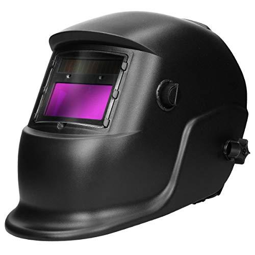 ECD Germany Automatik Schweißhelm mit 2 Sensoren - großes Sichtfeld - UV/IR-Schutz - variable Abdunklung: DIN 9-13 - für alle gängigen Schweißtechniken - Solar Schweißmaske Schweißschild Schweißschirm