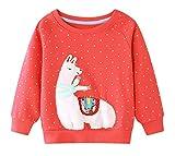 Edjude Invierno Camiseta de Manga para Niña Larga Sudaderas sin Cappucha Jersey Deportiva Otoño Suéter Lunares Alpaca Rojo 5-6 Años