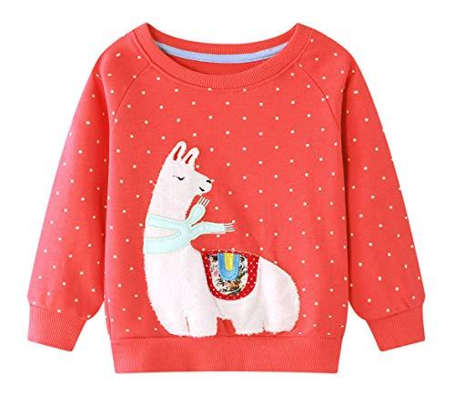 Edjude Invierno Camiseta de Manga para Niña Larga Sudaderas sin Cappucha Jersey Deportiva Otoño Suéter Lunares Alpaca Rojo 4-5 Años