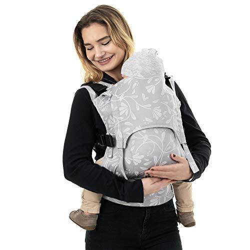 Fidella Fusion Toddler - Mochila portabebés con hebilla (100% algodón orgánico, hasta 30 kg), diseño floral, color gris