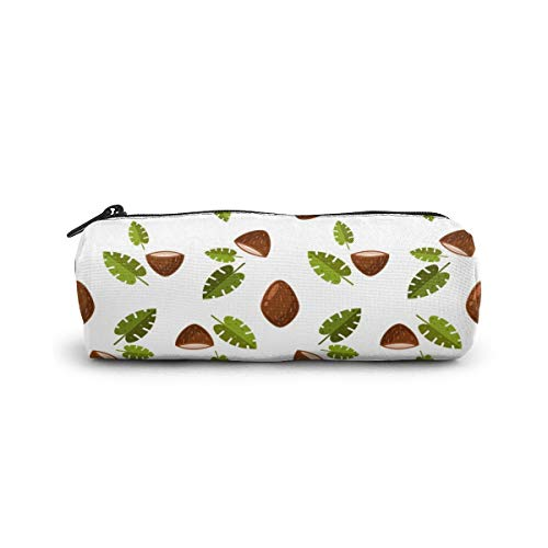 Cylinder Cosmetic Bag Flat Coconut Leaves Pattern Pencil Case Small