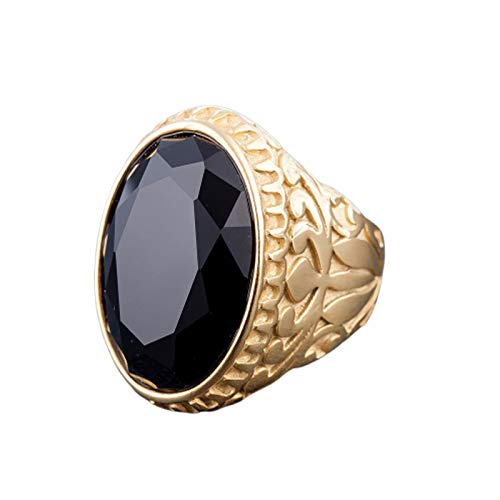 Adokiss Men's Jewellery Stainless Steel Rings Black Red Blue Green Oval Zirconia Punk Rings 30.5 mm Wide Size 54 (17.2) to 68 (21.6) black