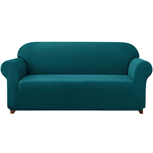 subrtex Stretch Sofa Cover 1-Piece Couch Slipcover Furniture Protector for Arm Chair Loveseat Coat Soft with Elastic Bottom, Polyester and Spandex Jacquard Fabric Small Checks (Large, Turquoise)