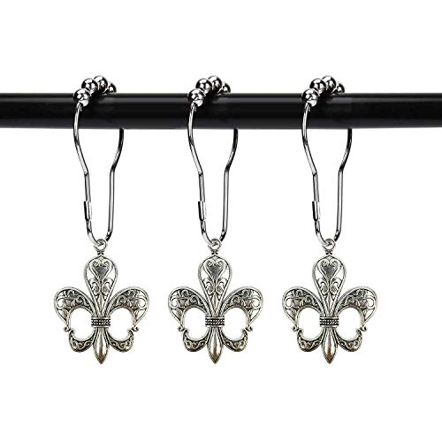 ZILucky Set of 12 Fleur De Lis Shower Curtain Hooks French Lily Royal Heraldry French Cottage Chic Historical Theme Style Decorative Home Bathroom Stainless Steel Rustproof (Silver)