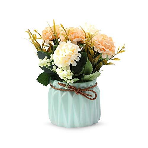 LdawyDE Fiori Artificiali, 1 Fiori Artificiali in Vaso, Fiori Artificiali Ortensia in Vaso, Realizzato in tessuto di seta, con 1 vaso di fiori in ceramica, per decorazioni, banchetti, feste (arancia)