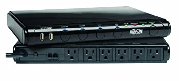 Tripp Lite 6 Outlet Under-Monitor Isobar Surge Protector Power Strip 2 USB 8ft Cord Tel/Modem/Fax Protection RJ11 & $100,000 Insurance  MT-6PLUS