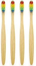 Genkent Natural Bamboo Toothbrush Made with Rainbow Nylon Infused Bristles Eco-Friendly (4 Counts)
