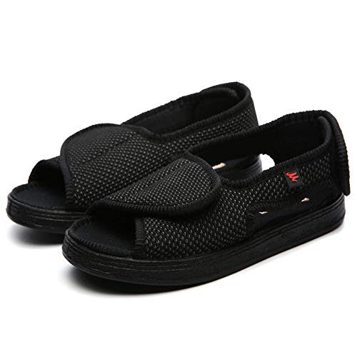 B/H Diabetiker-Schuhe,Verbreiterung Verstellbarer Stoffschuhe, diabetische Fußschuhe-41_schwarz,Gesundheitsschuh für Senioren und Diabetiker