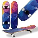 WeLLIFE Skateboard Completo Doppia Grafica per Principianti RGX Double Triangle Skate Board in Legno 79x20 cm in 9 Strati d'Acero Concavo Double Kick per Bambini Ragazzi Adulti