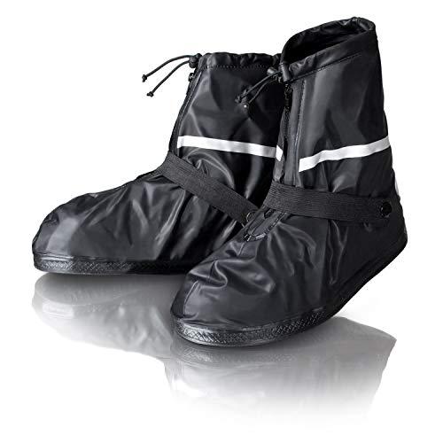 Amazy Regen Überschuhe + Gratis-Aufbewahrungsbeutel (Größe 44/45 | kurz) – wasserdichte und rutschfeste Schuhüberzieher mit Reflektoren für trockene, saubere Schuhe auch bei Regen, Schnee oder Staub