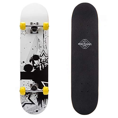 meteor Holz Skateboard Kinder - Mini Cruiser Kickboard - Skateboard Rollen Board Old School Holz Deck Retro Skateboard Jungen - Kinder Mini-Board