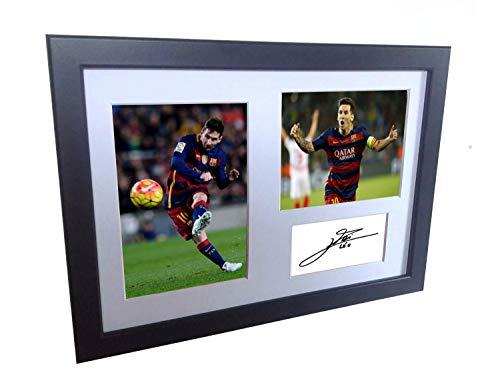 Fotografia enmarcada y firmada en tamano A4 de Lionel Messi, del Barcelona