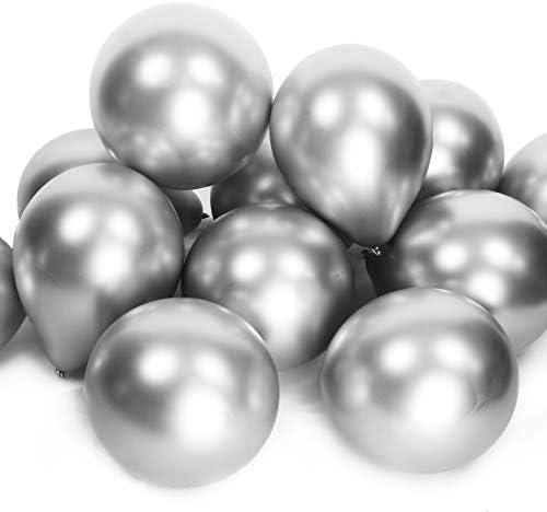 Pearl Co 25pcs Silver Chrome Latex 12 inch Shiny Metallic Helium Balloon Set for Weddings Birthdays product image
