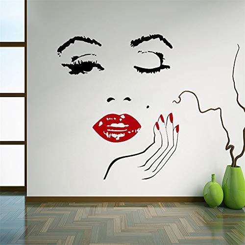 Wandtattoo Wohnzimmer Wandtattoo Schlafzimmer Sexy star marilyn monroe mädchen gesicht mit roten lippen und nagel wohnzimmer wohnkultur wandbilder für schönheitssalon