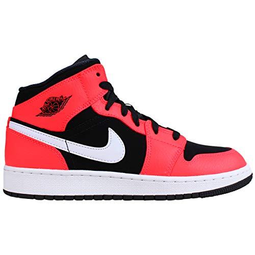 Nike Herren Air Jordan 1 Mid (gs) Fitnessschuhe, Mehrfarbig (Black/Infrared 23/ White 061), 38.5 EU