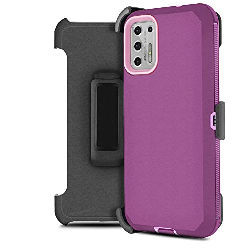 Customerfirst Designed for Motorola Moto G Stylus 2021 with Built In Screen, Belt Clip Holster Kickstand Protective Hybrid Cover Heavy Duty Armor Defender Shockproof Rugged Phone Case (Purple Rose)