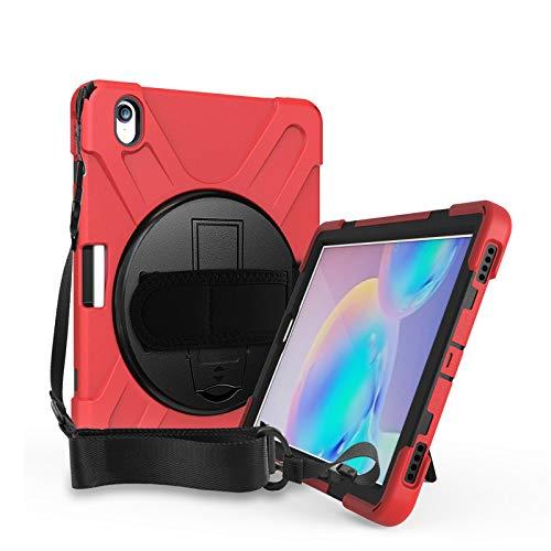 Funda para Galaxy Tab S6 10.5-Pulgadas 2019 (SM-T860/T865/T867), Cubierta Protectora Completa a Prueba de Golpes de Tres Capa con 360° Rotativo Soporte, Correa de Mano/Hombro,Red