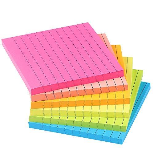 Notas adhesivas forradas de 10 x 10 cm brillante rayado Post stickies colorido que super pegando Power memo Pads su fuerte adhesivo, 6..