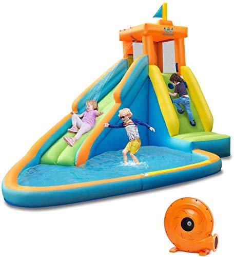 Wenore Diapositiva de Agua Inflable al Aire Libre Castillo Rociable jardín Interior y al Aire Libre Palmetazos Kinder Tiene Capacidad para 3 niños de 3 a 10 años de Edad