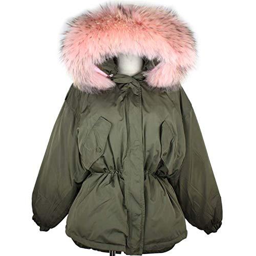 Bluecandy Women Parka Winter Jacket Women White Duck Down Coat met grote Raccoon Collar Hooded