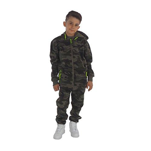 Fashion4Young 11400 Kinder Jogginganzug Freizeitanzug Kapuzenjacke u. Joggpants Camouflage Army-Style Tarnanzug (74, grün-grün)