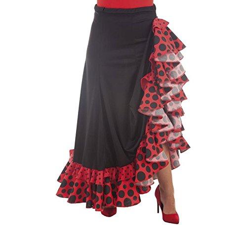 Disfraces Llopis Falda Sevillana Negra y Roja con Topos