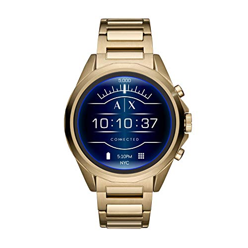 Armani Exchange Men's Smartwatch Touchscreen Watch with Stainless-Steel-Plated Strap, Gold, 20 (Model: AXT2001)