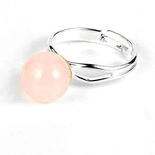 Anillo decorativo abierto para mujer, anillo minimalista ajustable en forma de bola de cristal rosa, unisex, joyería plateada, regalo para bodas, bailes, cumpleaños, aniversario, anillo de promesa