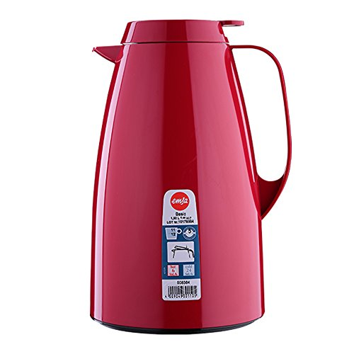 Emsa 508364 Isolierkanne, Thermoskanne, 1,5l Füllvolumen, Kaffeekanne, Quick Tip Verschluss, Basic in dunkelrot