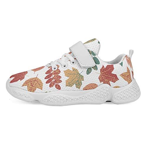 YxueSond - Zapatillas deportivas de malla para tenis y correr, diseño de hojas de arce, ligeras, informales, para niños, Infantil, blanco, 36