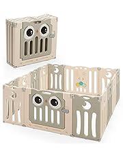 COSTWAY Opvouwbare Baby grondbox, kinderen veiligheid speelruimte activiteitencentrum met uil patroon, deur met veiligheidsslot & educatief speelgoed, HDPE materiaal & BPA vrij, komt met anti-slip rubber pootdop & anti-slip partikels, draagbaar binnen buiten spelen Hekje