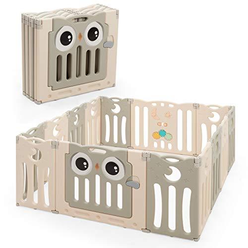 COSTWAY Laufgitter mit Tür und Spielzeugboard, Baby Laufstall faltbar, Absperrgitter aus Kunststoff, Krabbelgitter, Spielzaun, Schutzgitter für Säuglinge und Kleinkinder (Beige, 14 Paneele)