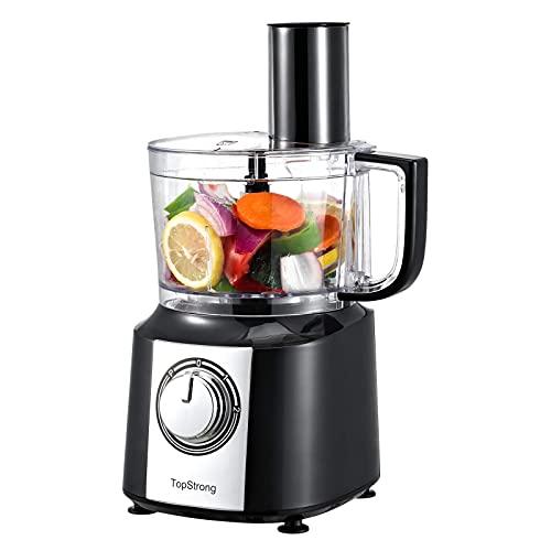 TopStrong Procesador de Alimentos Multifunción, 800W Robot de cocina, Compacto, Recipiente de 2L, incluye 3 discos de corte, Picadora, Amasadora y Batidor