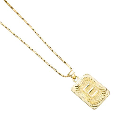 reminis Copper Plated 18K Gold Letter Clavicle Chain Fashion Simple Men And Women Pendant Necklace (E)