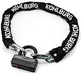 KOHLBURG massiccia catena con lucchetto dalla lunghezza di 120 cm e dallo spessore di 12 mm con la migliore classe di sicurezza 10/10 - Catena antifurto per moto biciclette elettriche e bici