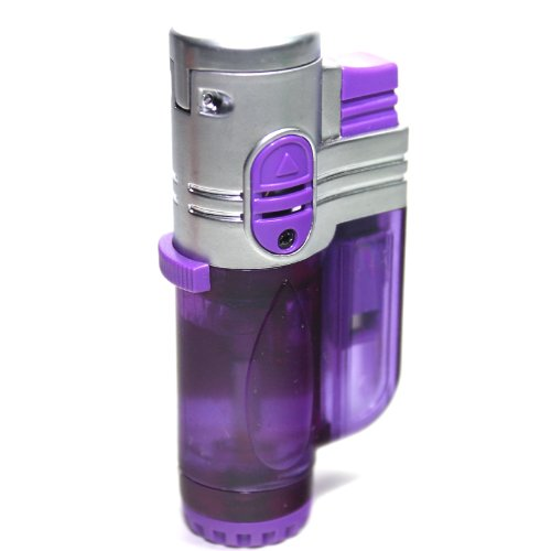 T19 Purple Color Triple Flames Refillable Butane Torch Lighter - Flame Lock - 3 Inch - Unboxed