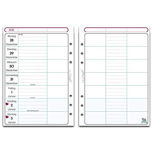 SinnWunder® Premium-Kalendereinlage - Wochenkalender - Familienplaner - 1 Woche / 2 Seiten FamilySinn - (Din A5-2021)
