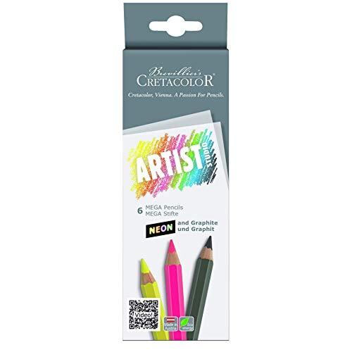 Cretacolor Artist Studio MEGA - Juego de 6 bolígrafos (neón y grafito)