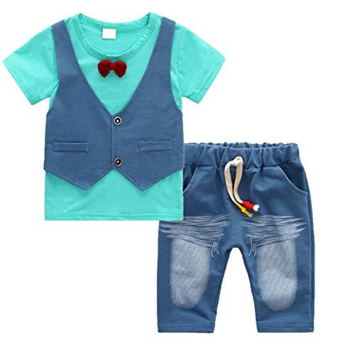Floridivy 2 stuks Baby Boy Kids Summer Outfit T-shirt van Jeans t-shirt korte broek, jonge jongens blouse Kinder T-shirt Top met Shorts Broeken Kleding Set