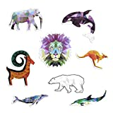 Shiny BOTTLE STICKER 8 pcs MIX ANIMALS pack Waterproof. Vinyl Decorative Elephant, Orca, Whale, Mountain Goat, Lion, Kangaroo, Bear, Dolphin design for laptop, books, tablet, cars and much more Decals